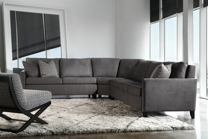 Sleek Modern Sectional Sleeper Sofa In Grey On White Ceramics Floor With Cream Carpet For Living Room Decor Ideas