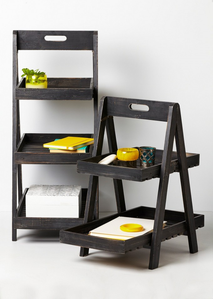 Small Black Wooden Ladder Bookshelf For Home Furniture Ideas