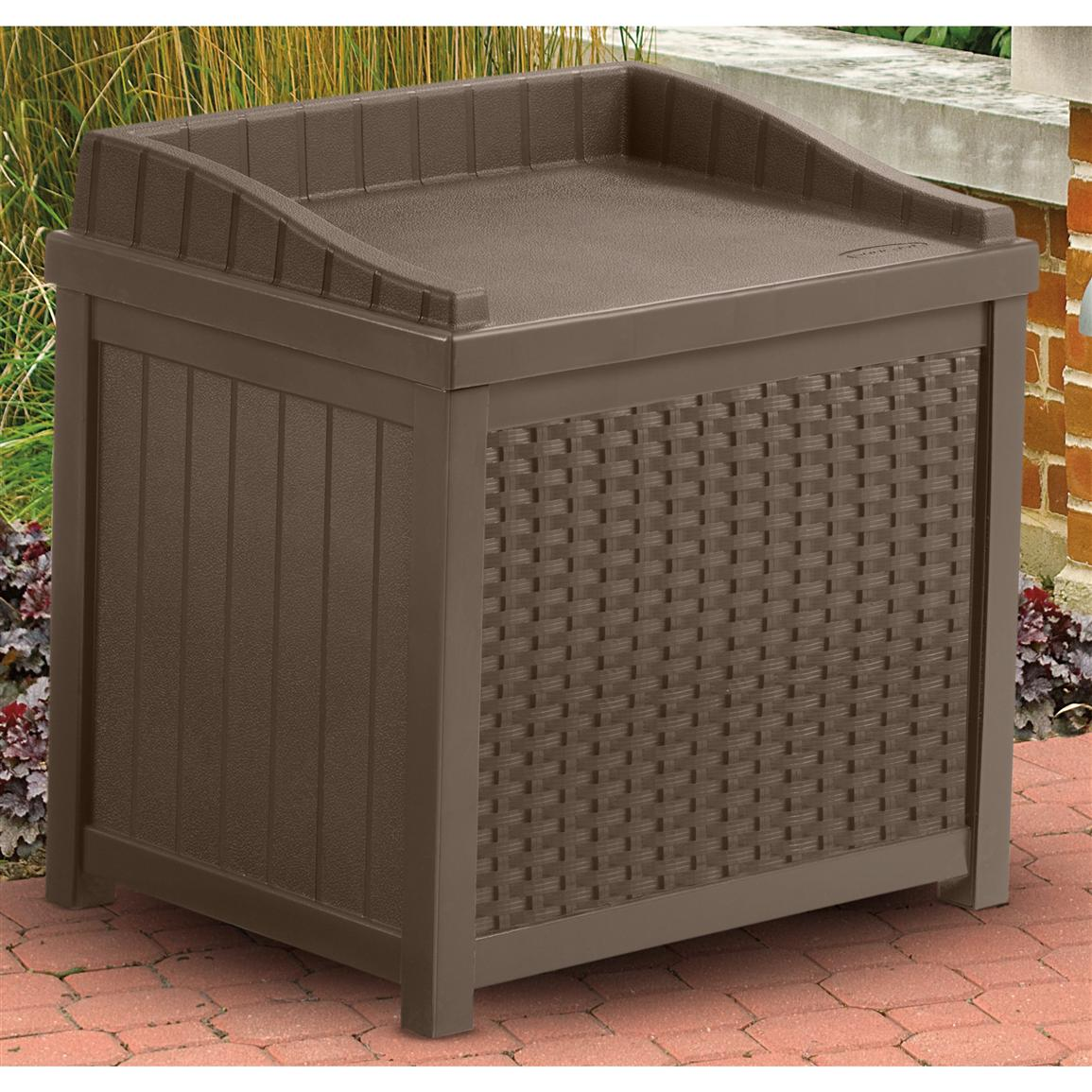 small Suncast Deck Box Ideas in dark grey with seat for patio furniture ideas