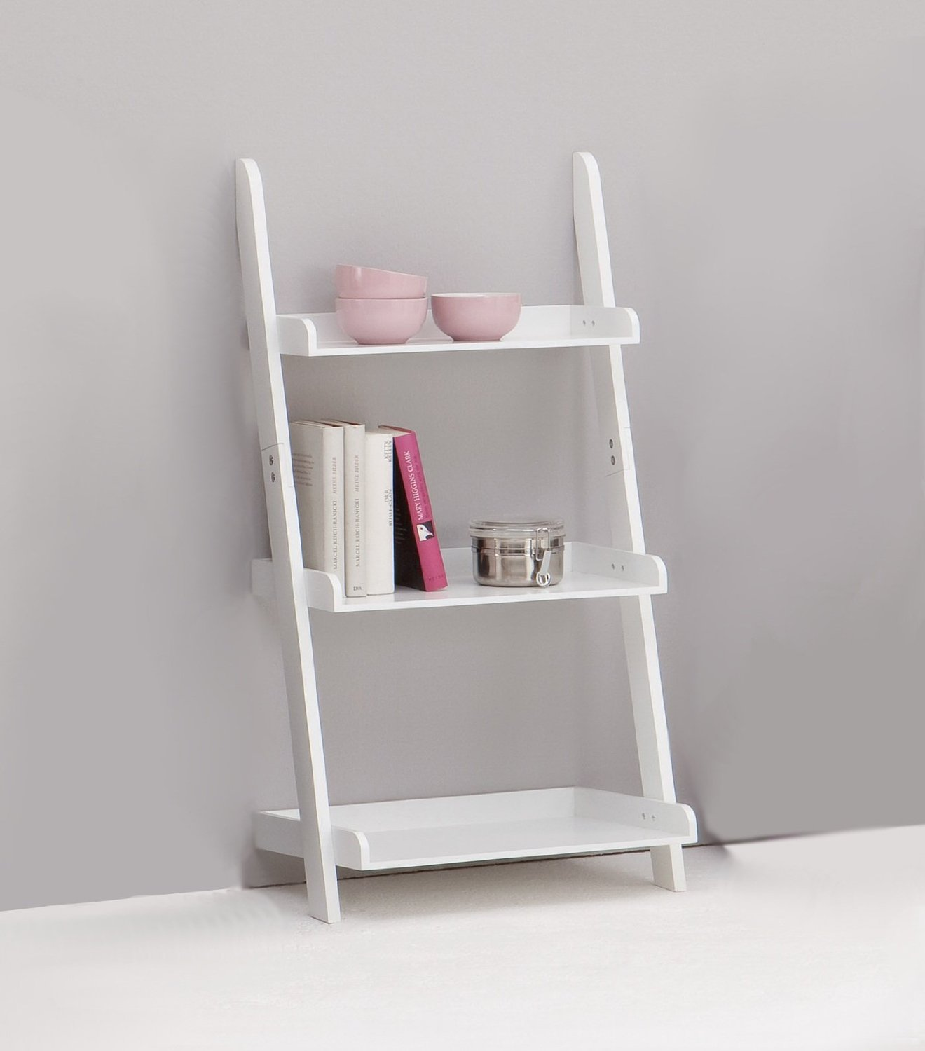 small white wooden Ladder bookshelf for home furniture ideas