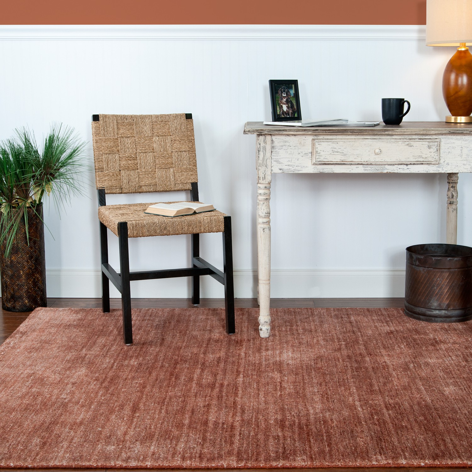 Solid Brown Surya Rugs On Wooden Floor Plus Single Chair And White Table Ideas