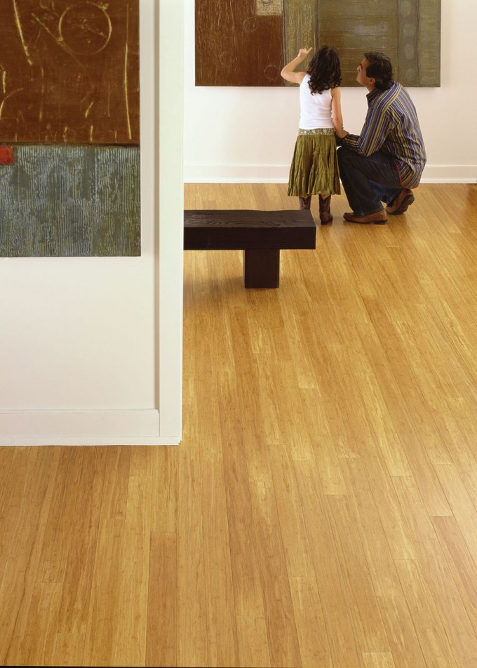 Solid Strand Bamboo Teragren Flooring Matched With White Wall For Home Interior Design Ideas
