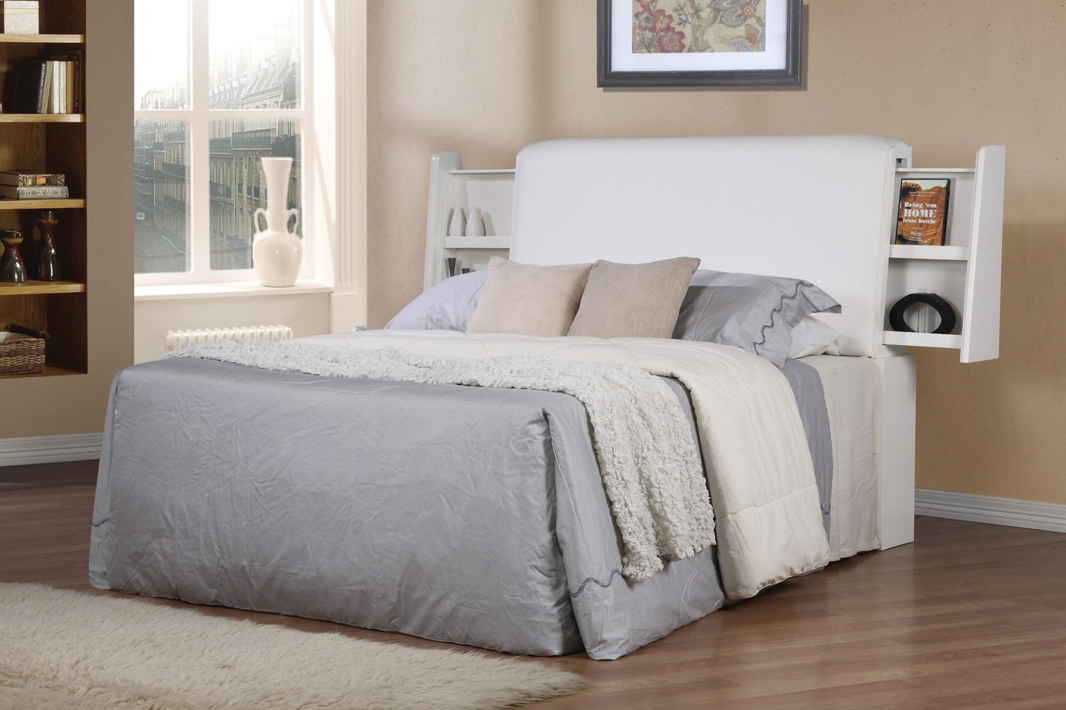 solid white upholstered headboards matched with gray bedding on wooden  floor with white rug matched with. Bedroom  Beige Upholstered Headboards With White Bedding On Beige
