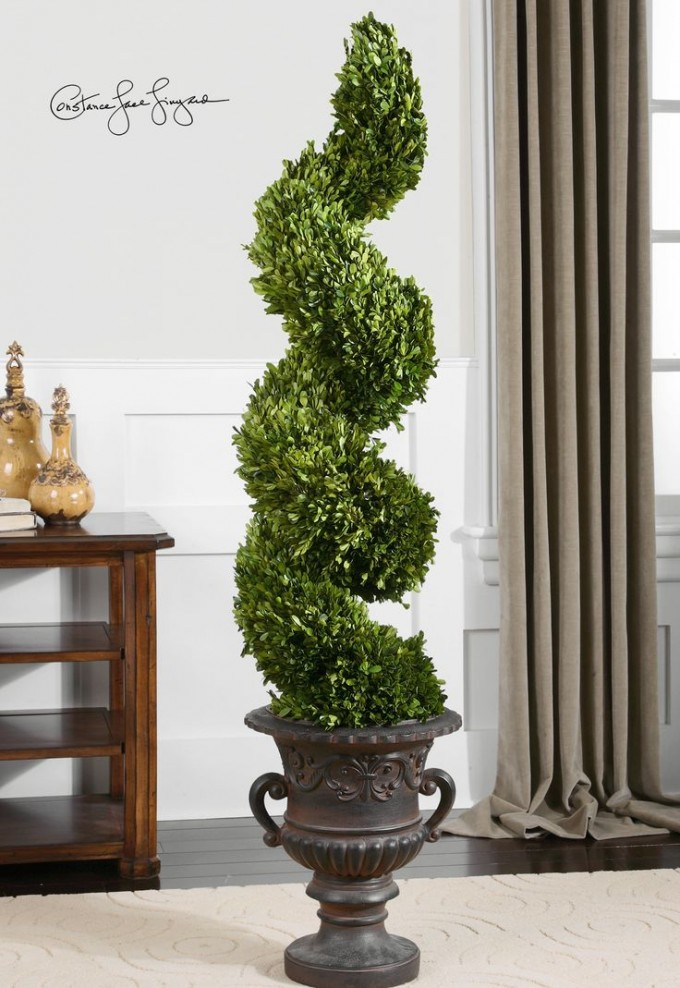 Spiral Topiary Preserved Boxwood On Brown Jar For Home Accessories Ideas