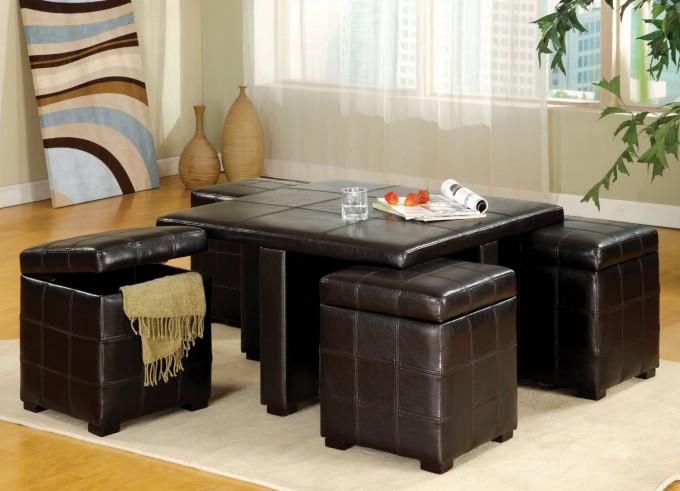 Square Black Leather Large Ottoman Tray On White Carpet For Living Room Decor Ideas