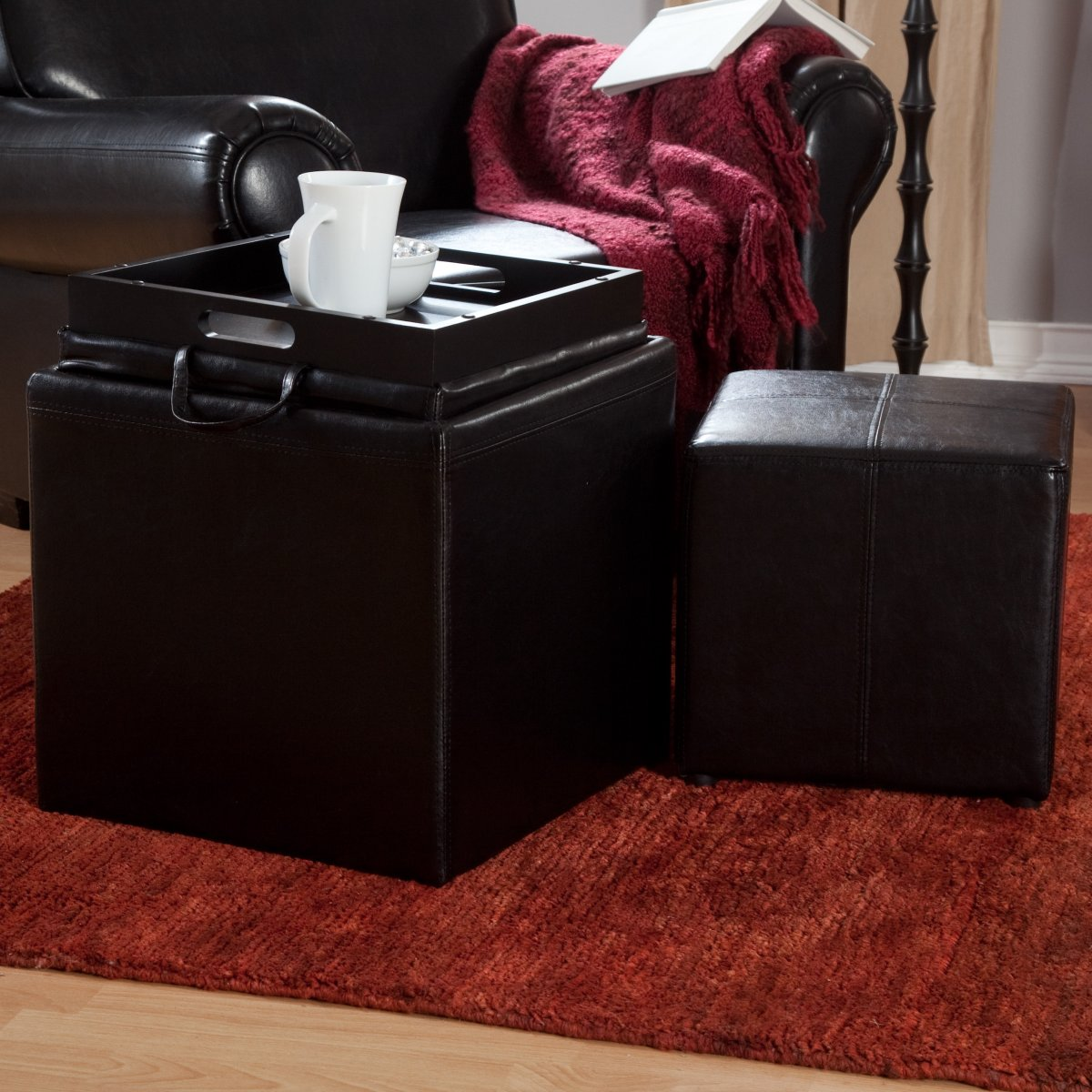 square black leather ottoman with large ottoman tray for home furniture ideas