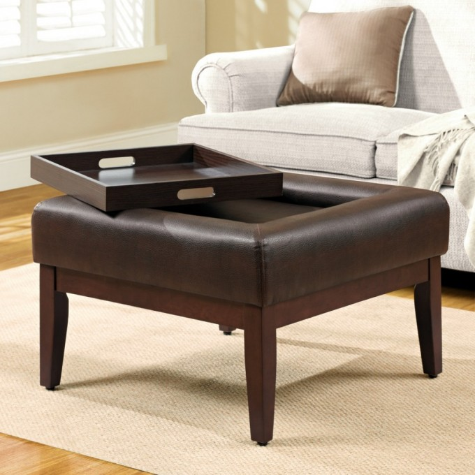 Square Brown Leather Ottoman With Square Brown Wooden Large Ottoman Tray On Wheat Carpet Lus White Sofa With Cushion For Inspiring Living Room Decor Ideas