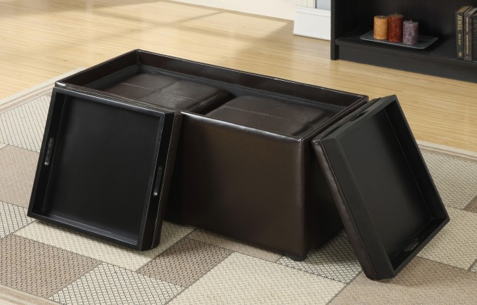 Square Large Ottoman Tray In Black With Black Ottoman With Storage For Inspiring Home Furniture Ideas