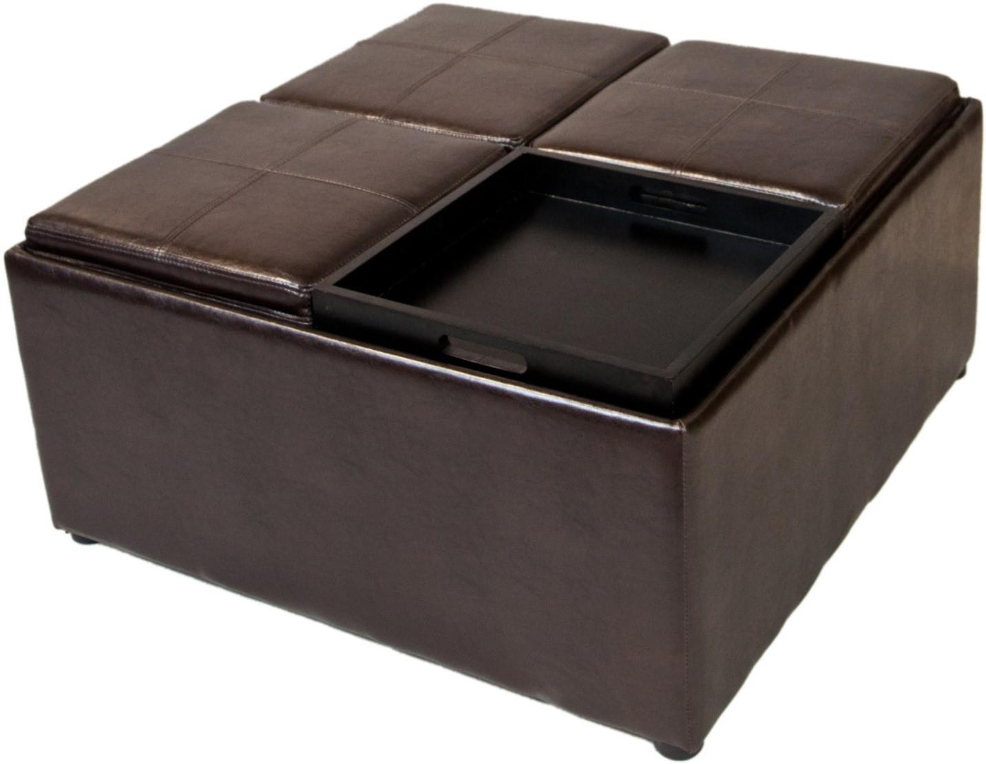 square leather ottoman with large ottoman tray in black for home furniture ideas