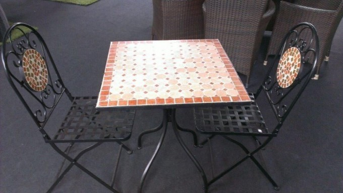 Square Mosaic Bistro Table With Black Metal Legs Plus Black Chairs With Mosaic On Back For Home Furniture Ideas