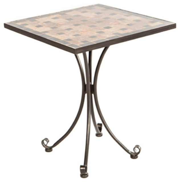 square Mosaic Bistro Table With checked motif for home furniture ideas