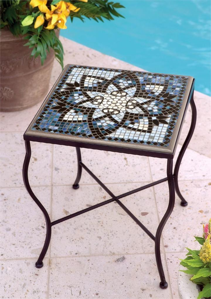square Mosaic Bistro Table with flower motif and dark brown legs for home furniture ideas