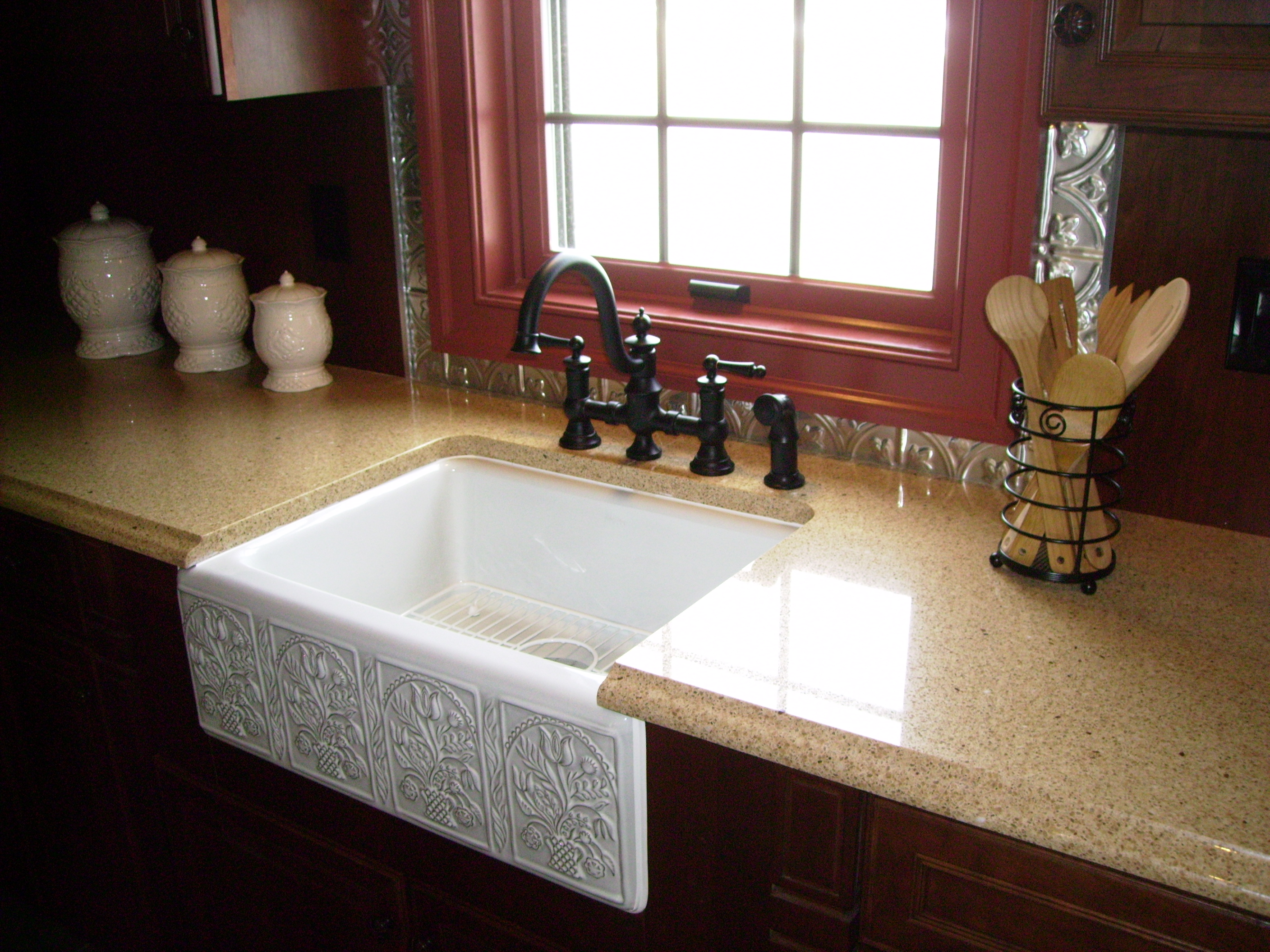 Awesome Square White Apron Sink Plus Black Faucet On Brown Kitchen Cabinet With Countertop Before The Window Ideas