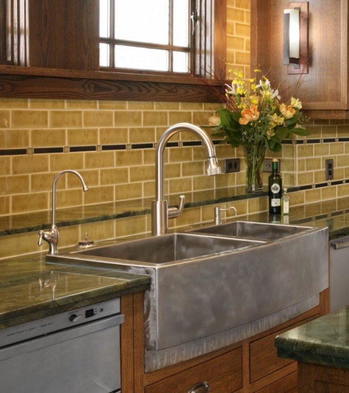 Stainless Steel Apron Sink With Double Bowl On Wooden Kitchen Cabinet With Countertop And Faucet For Kitchen Decor Ideas