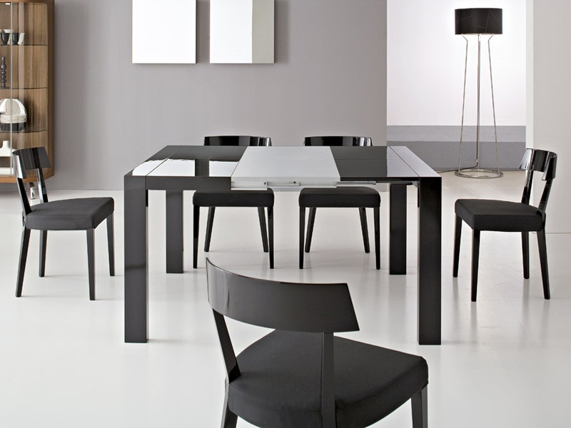 Stunning Expandable Dining Table Set In Black On White Ceramics Floor  Matched With Grey Ceramics Floor
