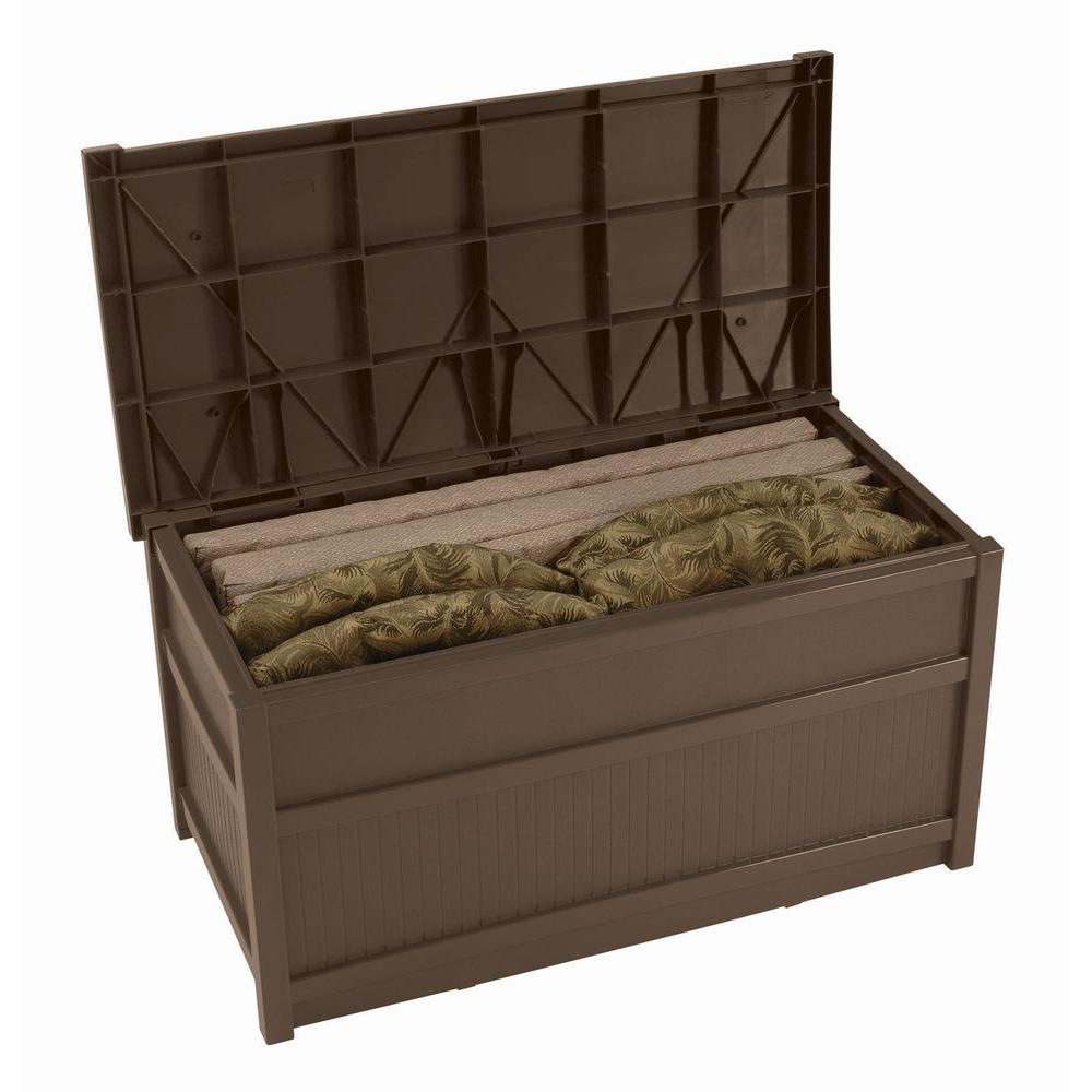 Suncast Deck Box Ideas in brown with layer inside for inspiring furniture ideas
