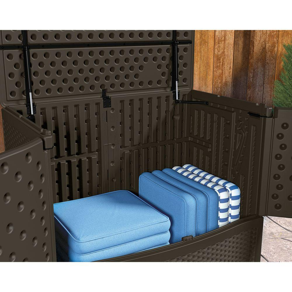 Suncast Deck Box Ideas in dark brown filled with cushion seat for home furniture ideas