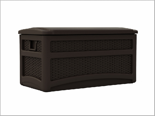Suncast Deck Box Ideas in solid black for patio furniture ideas