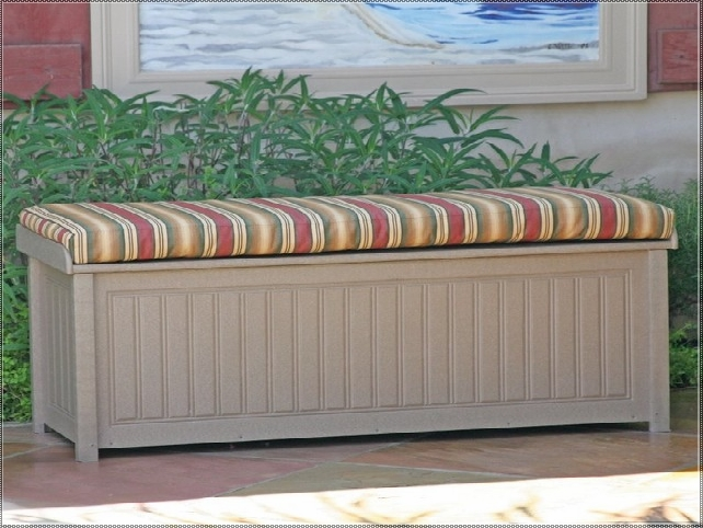 Suncast Deck Box Ideas in wheat with stripped seat for inspiring patio furniture ideas