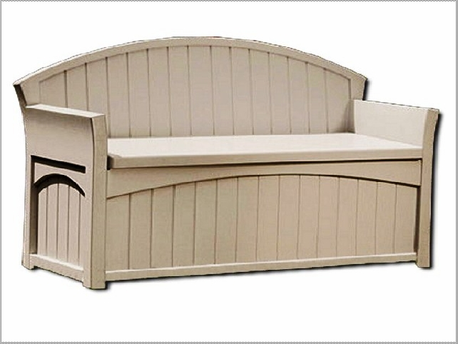 Suncast Deck Box Ideas in white with seat ad back plus arm for inspiring patio furniture ideas