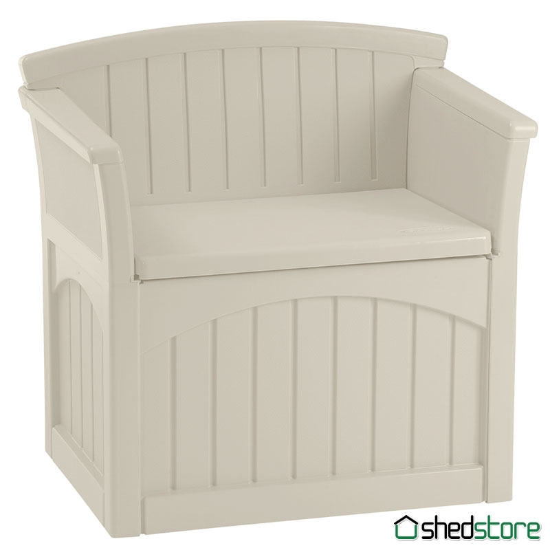 Suncast Deck Box Ideas in white with seat and back and arm for patio furniture ideas