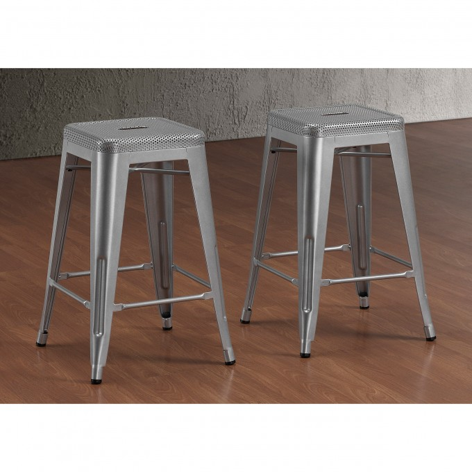 Tabouret 24 Inch Counter Stools In Grey On Wooden Floor For Home Furniture Ideas