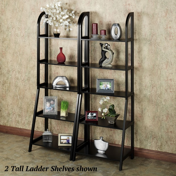 Tall Black Wooden Ladder Bookshelf On Tan Floor Matched With Cream Wall For Home Decor Ideas