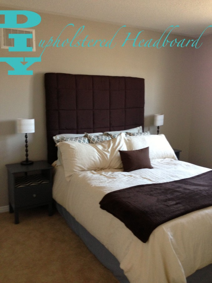 Tall Upholstered Headboards In Brown Matched With White Bedding Plus Pillow  And Wooden Nightstand With Table