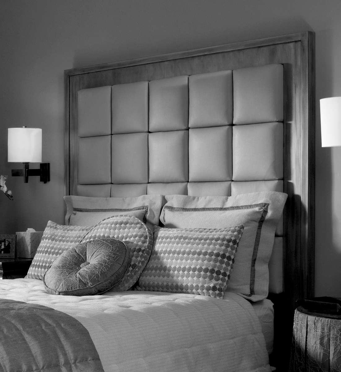 tall upholstered headboards in gray matched with white and gray bedding plus pillows for bed ideas