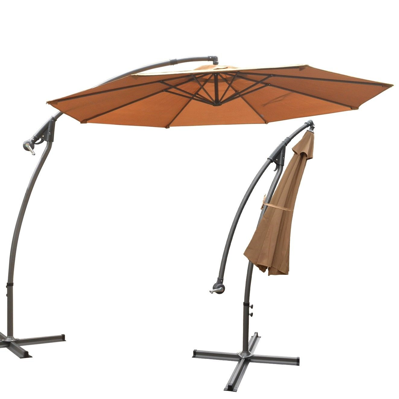 tan cantilever patio umbrella with black stand for patio furniture ideas