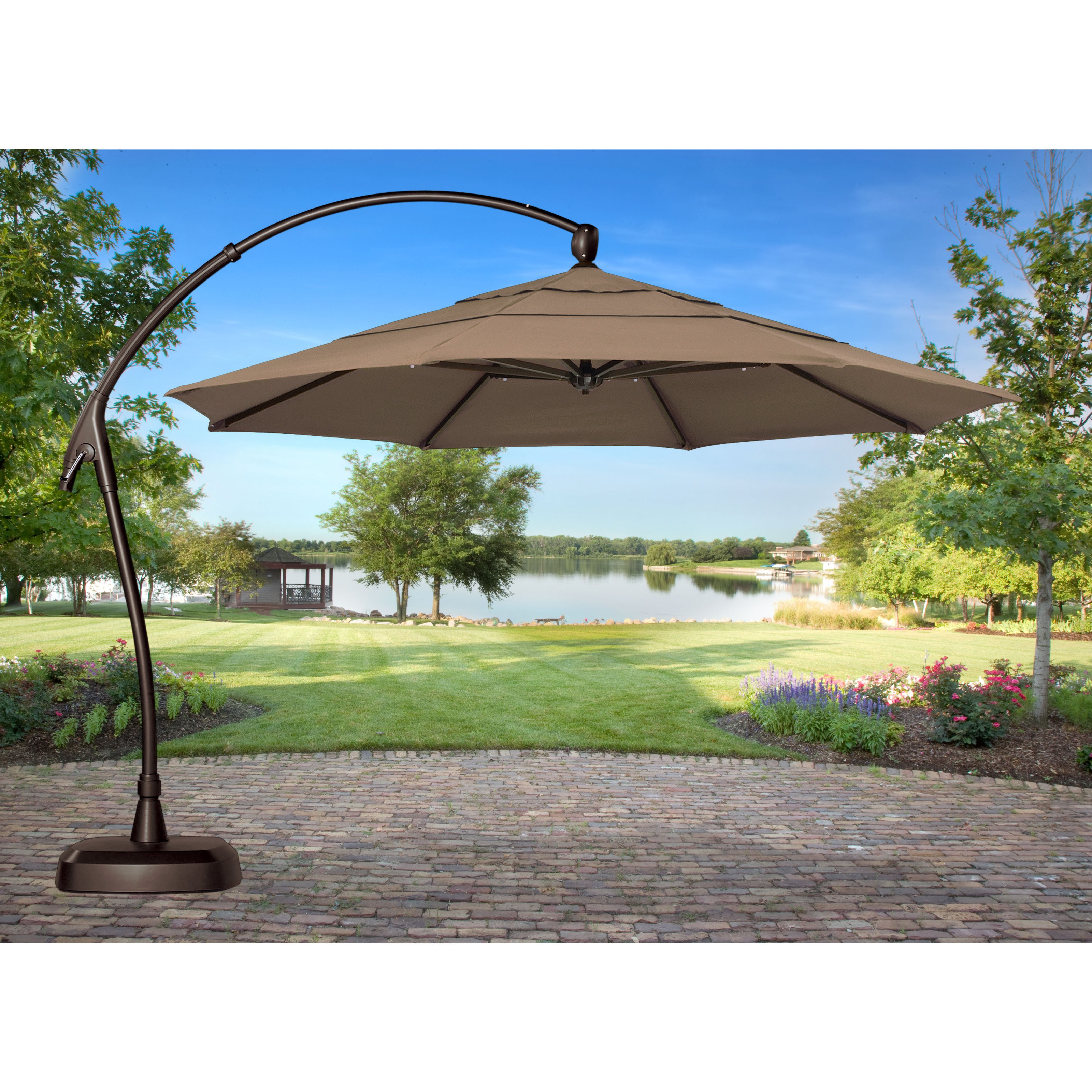 Tan Cantilever Patio Umbrella With Brown Metal Stand For Patio Furniture  Ideas
