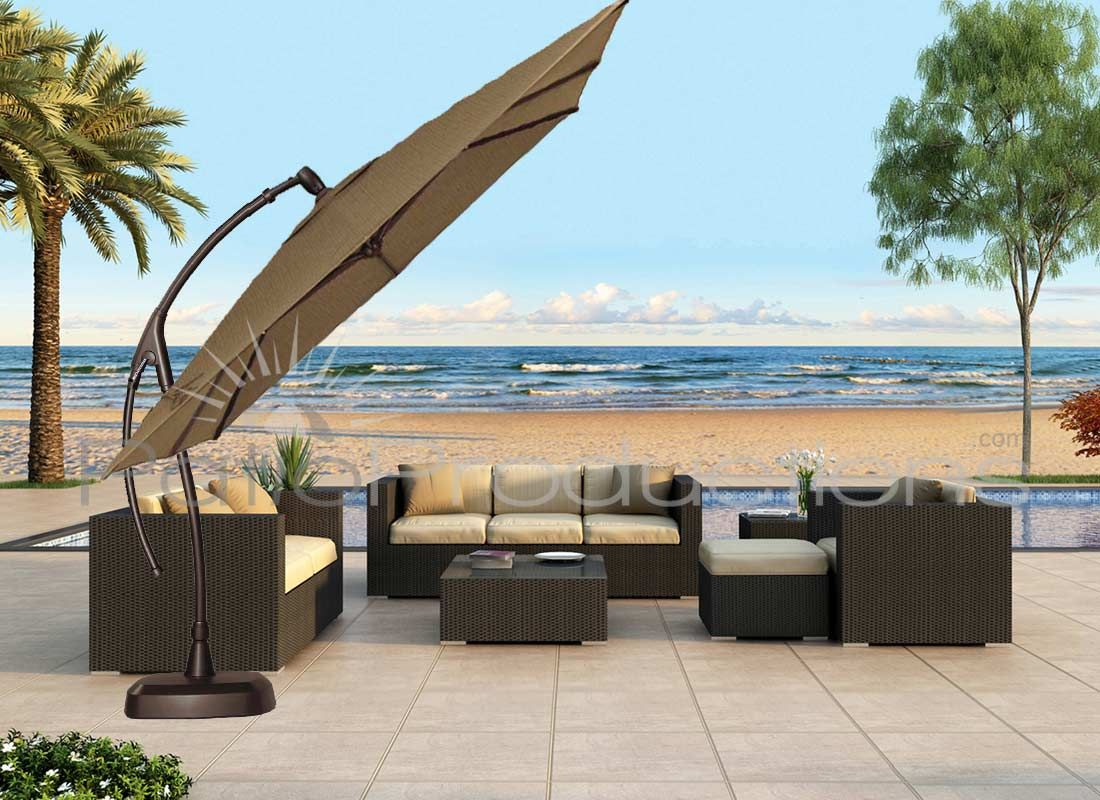 Tan Cantilever Patio Umbrella With Dark Brown Stand On Wheat Ceramics Floor  Plus Sofa Set For