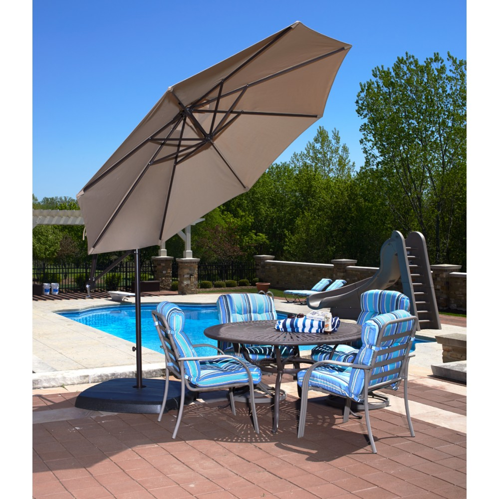 tan cantilever patio umbrella with grey metal stand plus dining table set for patio decor ideas