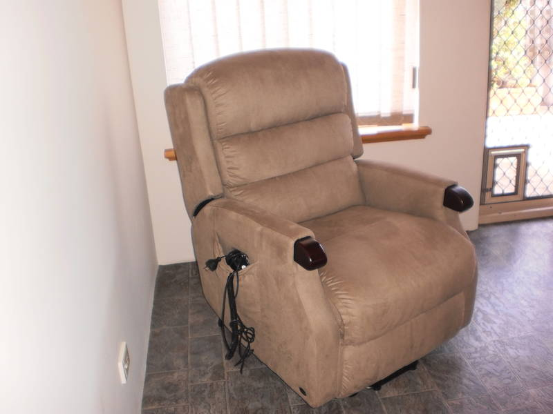 tan power lift recliners on black ceramics floor matched with white wall for living room decor ideas