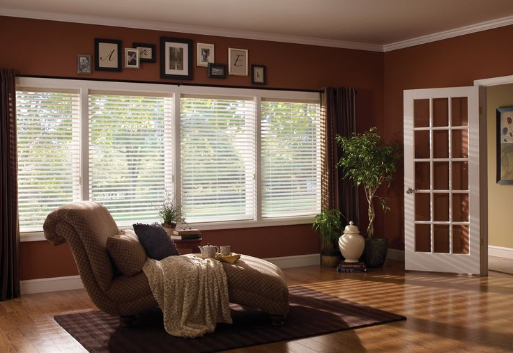 tan wall with white window and bali blinds matched with wooden floor and white door for home interior design ideas