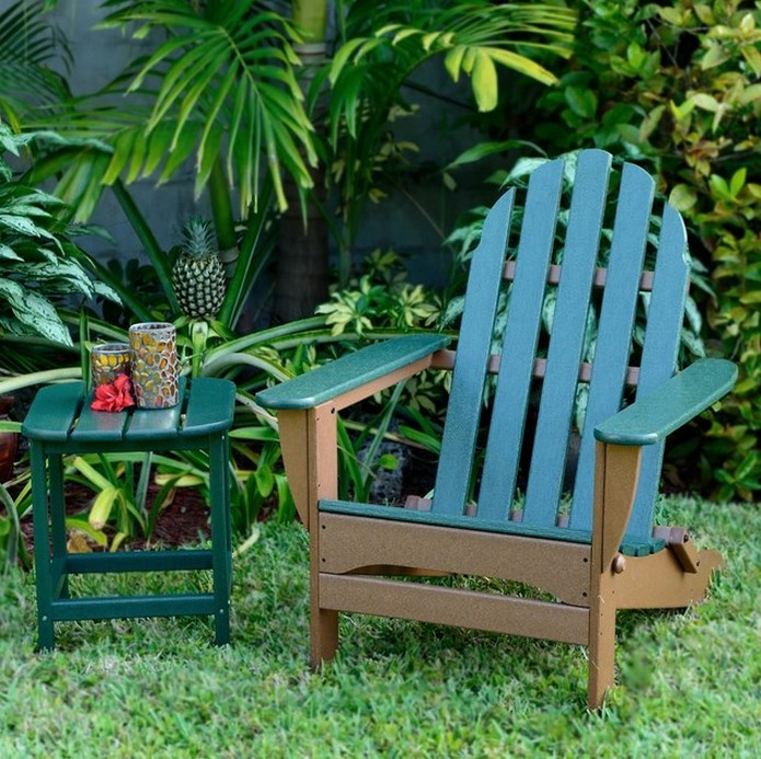 Teak Adirondack Chairs in brown and green plus green table for patio furniture ideas