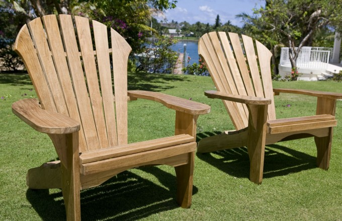 Teak Adirondack Chairs In Cream With Arm For Outdoor Furniture Ideas