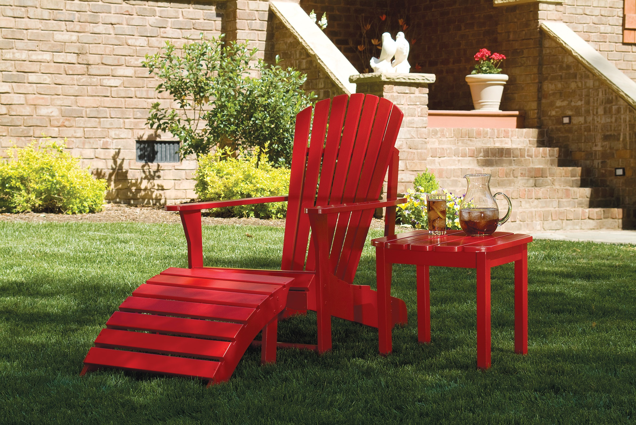 Teak Adirondack Chairs in red plus ottoman and matching table for patio decor ideas
