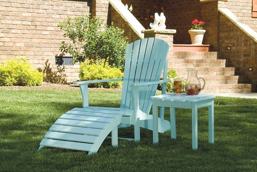 teak Adirondack Chairs in tuqouise with matching table for inspiring outdoor furniture ideas