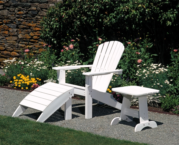 teak adirondack chairs in white with matching ottoman and table for patio furniture ideas