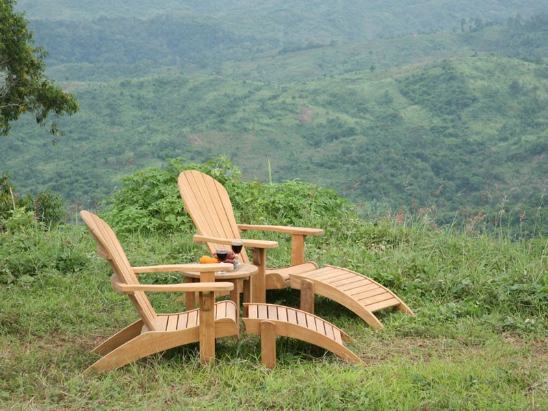 Teak Adirondack Chairs with matching ottoman for outdoor furniture ideas