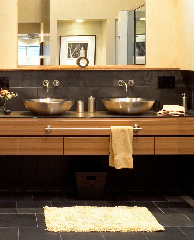 Teragren Bamboo Architectural Panels Plus Double Bowl Sink And Faucet For Bathroom Decor Ideas