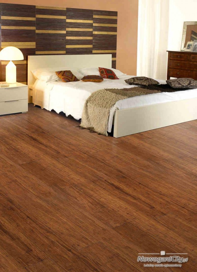 Teragren Flooring Matched With Beige Wall With Decorative Trim Wall Decor Plus Tan Bedding For Bedroom Decor Ideas