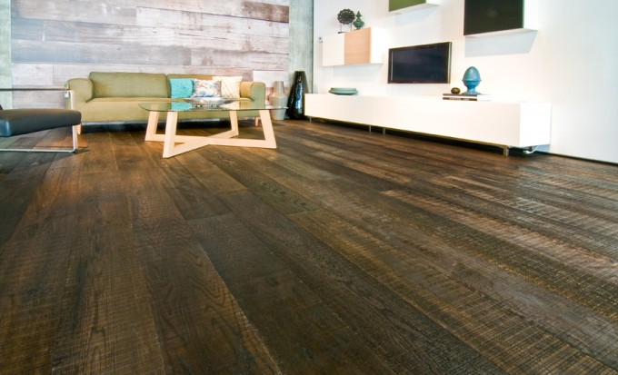 Teragren Flooring Matched With White Floor Plus Tv And Sofa For Inspiring Family Room Decor Ideas