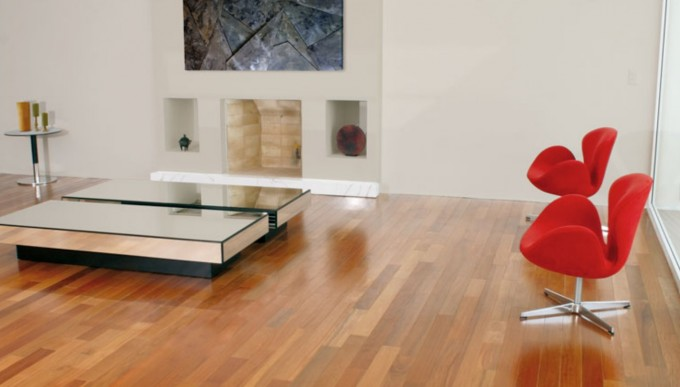Teragren Flooring Matched With White Wall Plus Red Chairs For Home Interior Design Ideas