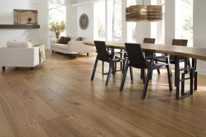 Teragren Flooring Matched With White Wall Plus Unique Dining Table For Kitchen Decor Ideas