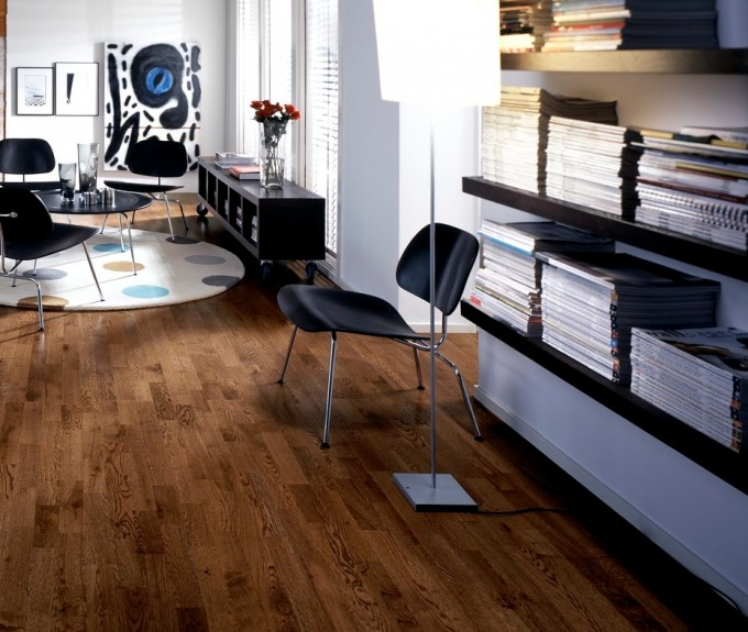 Teragren Flooring Matched With White Wall With Bookcase And Window With Blinds For Home Interior Design Ideas