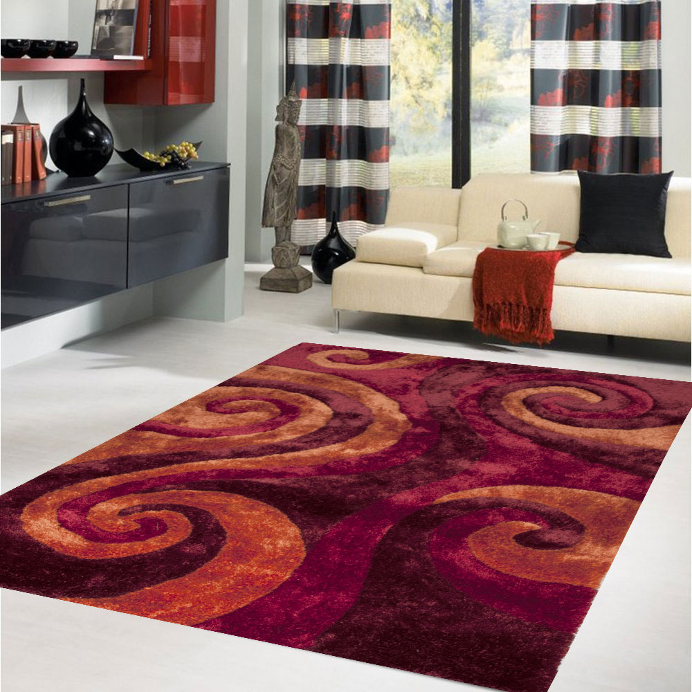Three Dimension Shaggy 5x7 Area Rugs In Red With Curved Motif On White Ceramics Floor Plus White Sofa Plus Window With Stripped Curtains For Living Room Decor Ideas