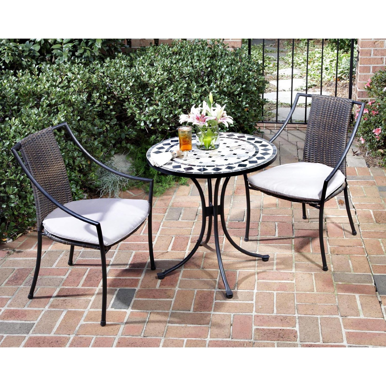 tile mosaic bistro table with white top and black legs plus double chairs with white seat for patio furniture ideas