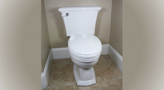 Toto Toilets Clayton On Mocca Ceramics Floor Matched With Cream Wall Plus White Baseboard Molding In The Corner Of The Toilet For Toilet Decor Ideas